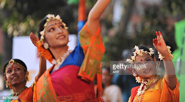 Bangladeshi performers participate in a traditional dance during the Boshonto Utshob festival in Dhaka on February 13 2009 The spring festival of...