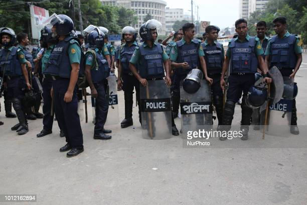 Bangladeshi police stands guards at Shahbagh during the students protest rally in Dhaka Bangladesh on August 6 2018