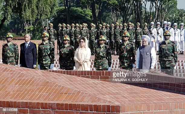 Bangladeshi Prime Minister Khaleda Zia , Indian Prime Minister Manmohan Singh and Pakistani Prime Minister Shaukat Aziz pay their respect to the 1971...