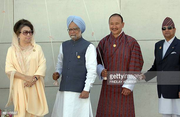 Bangladeshi Prime Minister Khaleda Zia leads fellow leaders Bhutanese Prime Minister Lyonpo Jigmi Y Thinley Indian Prime Minister Manmohan Singh and...