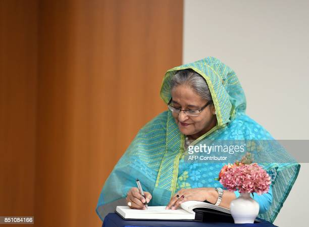 Bangladeshi Prime Minister Sheikh Hasina arrives to meet with UN Secretary General Antonio Guterres on September 21 2017 at the United Nations in New...