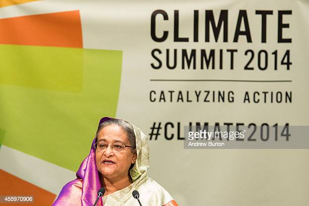 Bangladeshi Prime Minister Sheikh Hasina speaks at the United Nations Climate Summit on September 23 2014 in New York City The summit which is...