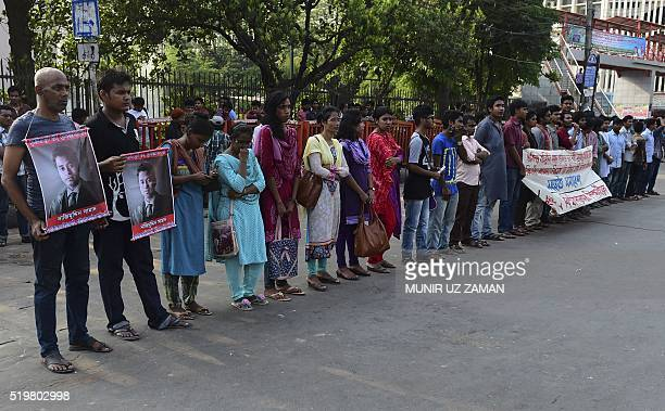 Bangladeshi secular activists and university students take part in a protest in Dhaka on April 8 following the murder a 26yearold law student...