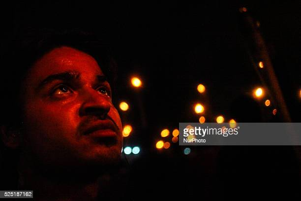 Bangladeshi secular activists take part in a torchlit protest against the killing of Avijit Roy in Dhaka on February 27 2015 Avijit Roy is...