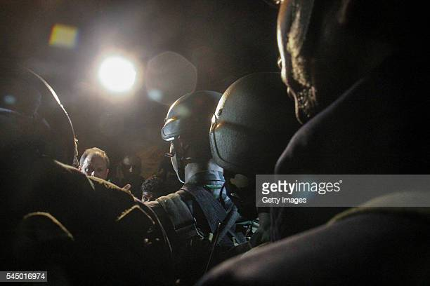 Bangladeshi security personnel stand guard after gunmen stormed Holey Artisan Bakery cafe on July 02 2016 in Dhaka Bangladesh Last night gunmen...