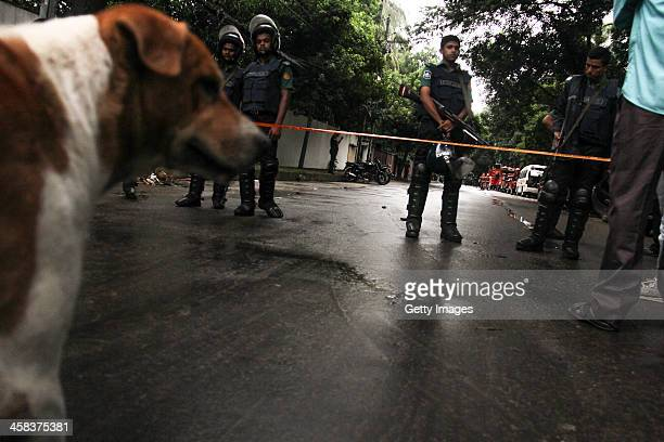 Bangladeshi security personnel stand guard near the Holey Artisan Bakery cafe which was attacked by gunman on July 02 2016 in Dhaka Bangladesh Last...