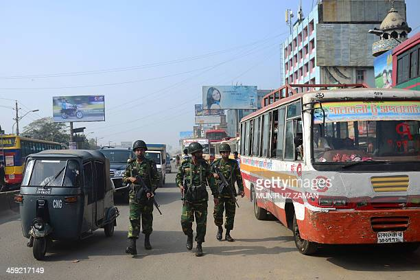Bangladeshi soldiers patrol a street during an ongoing blockade organised by the main opposition Bangladesh Nationalist Party and its Islamist allies...
