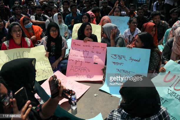 Bangladeshi Students block road during a student protest after the death of Bangladesh University of Professionals student Abrar Ahmed Chowdhury in a...