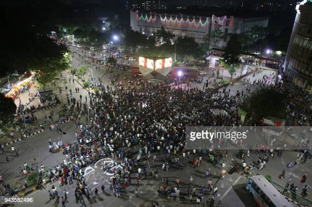 Bangladeshi university students block a road during a protest against the quota system used in government recruitment in Dhaka on April 9 2018 At...