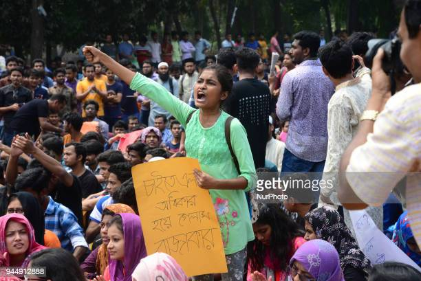 Bangladeshi University students demonstration to protest against quotas for certain groups of people in government jobs in Dhaka Bangladesh on April...