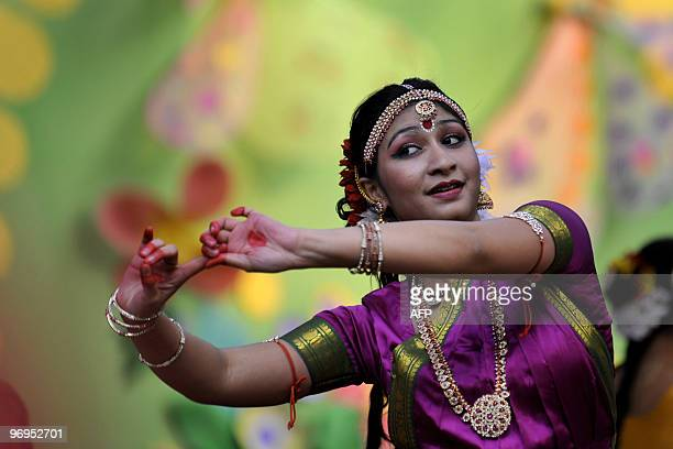 A Bangladeshi woman performs a traditional dance during the Boshonto Utshob festival in Dhaka on February 13 2010 The spring festival or Boshonto...