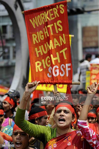 A Bangladeshi woman shouts slogans at a rally organize by the garments labour federation to mark May Day or International Workers� Day in Dhaka on...
