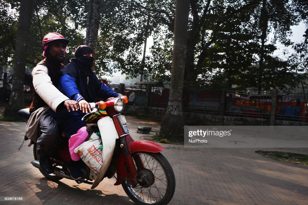 A Bangladeshi women is learning bike riding in a park in Dhaka , Bangladesh on Tuesday 02 December 2018.