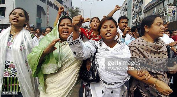Bangladeshi women march during a nationwide strike called by opposition parties led by the Awami League in Dhaka 24 November 2005 Much of Bangladesh...