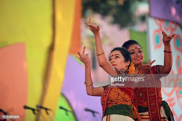 Bangladeshi women perform a traditional dance during the quotBasanta Utsabquot or spring Festival in Dhaka on February 13 2015 Hundreds of people...