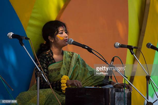 Bangladeshi women perform a traditional song during the quotBasanta Utsabquot or spring Festival in Dhaka on February 13 2015 Hundreds of people...