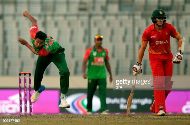 Bangladeshi's Mustafizur Rahman bowls during the fifth One Day International match in the TriNations Series between Bangladesh and Zimbabwe at the...