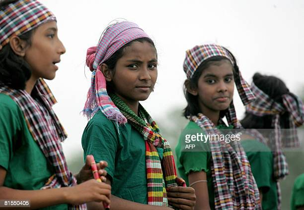 Bangladesh-media-agriculture-games,FEATURE by Helen Rowe Bangladeshi girls prepare to start a dance routine during filming of the television game...