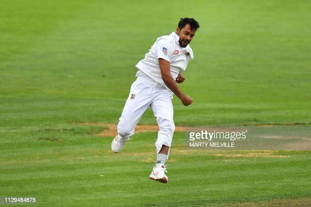 Bangladesh's Abu Jayed celebrates New Zealand's Tom Latham being caught during day three of the second Test cricket match between New Zealand and...