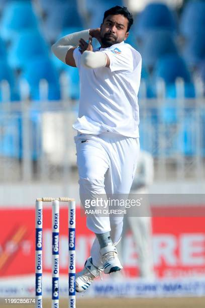 Bangladesh's Abu Jayed delivers the ball during the second day of the first cricket Test match between Pakistan and Bangladesh at the Rawalpindi...