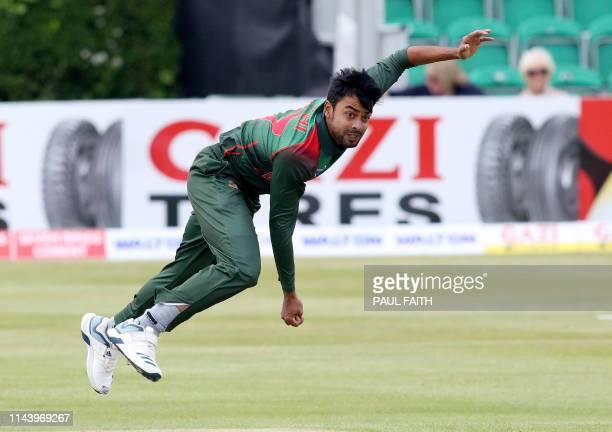 Bangladesh's Abu Jayed Rahi bowls during the TriNation Series oneday international between Ireland and Bangladesh at the Clontarf Cricket Club Ground...