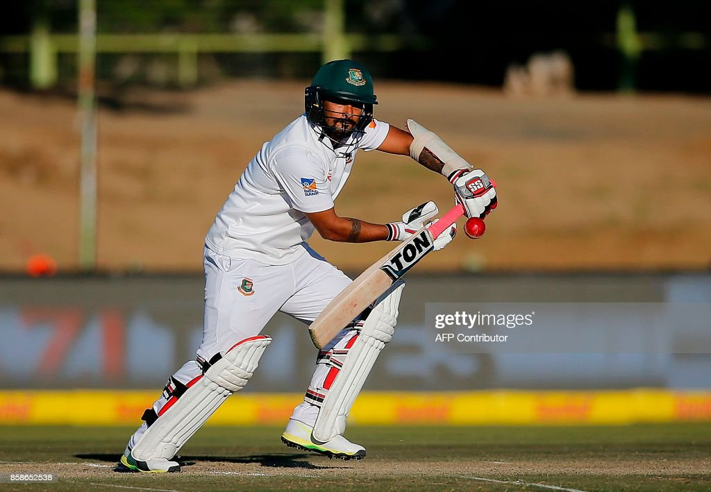 Bangladesh's batsman Liton Das watches the ball after playing a shot during the second day of the second Test cricket match between South Africa and Bangladesh in Bloemfontein on October 7, 2017. /
