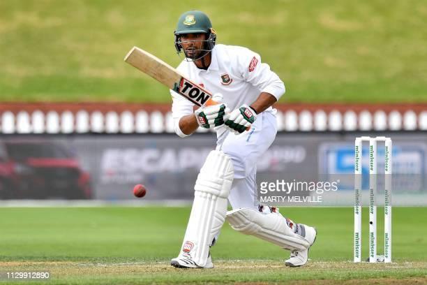 Bangladesh's captain Mahmudullah plays a shot during day five of the second cricket Test match between New Zealand and Bangladesh at the Basin...