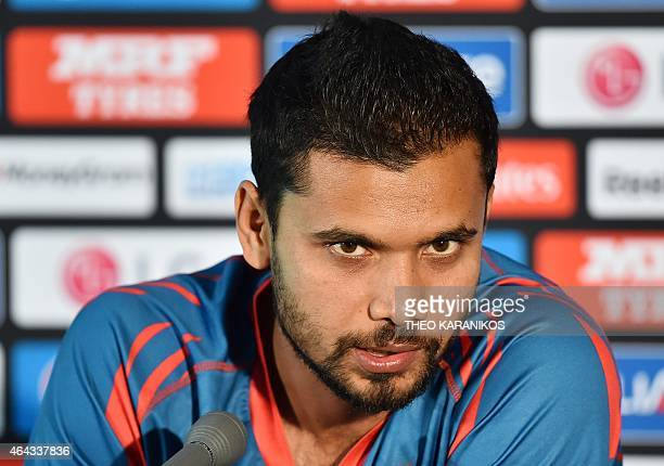 Bangladesh's Captain Mashrafe Mortaza attends a pre match press conference at the Melbourne Cricket Ground on February 25 ahead of their 2015 Cricket...
