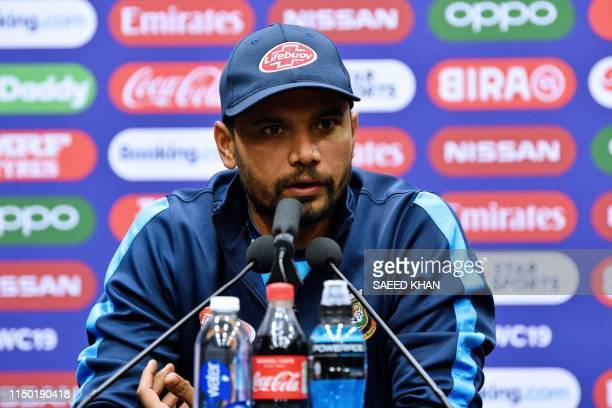 Bangladesh's captain Mashrafe Mortaza attends a press conference at The County Ground in Taunton southwest England on June 16 ahead of their 2019...