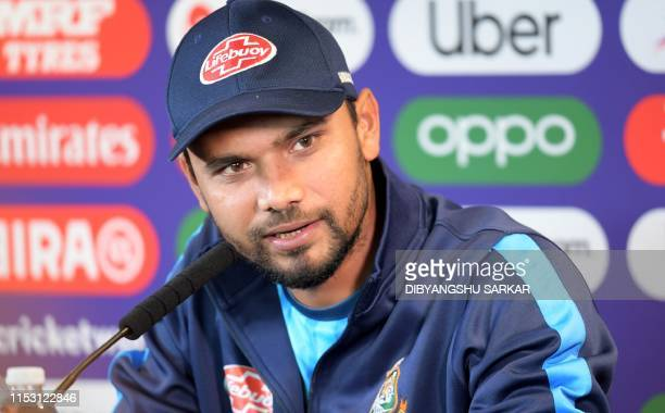 Bangladesh's captain Mashrafe Mortaza attends a press conference at Edgbaston in Birmingham central England on July1 ahead of their 2019 Cricket...
