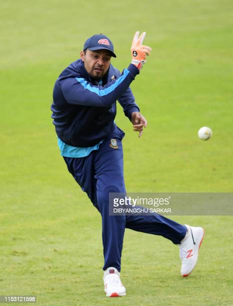 TOPSHOT Bangladesh's captain Mashrafe Mortaza attends a training session at Edgbaston in Birmingham central England on July 1 ahead of their 2019...