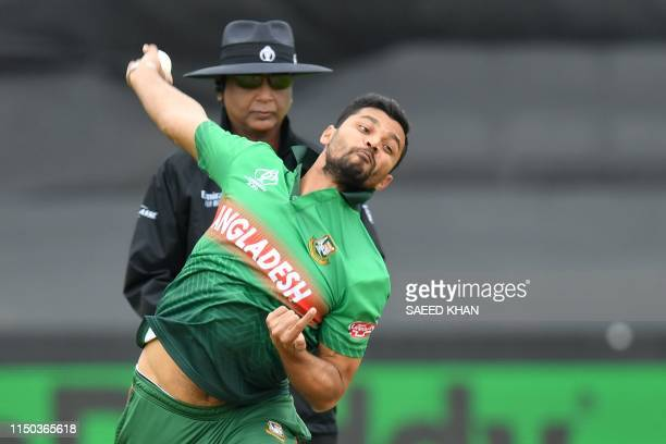 Bangladesh's captain Mashrafe Mortaza bowls during the 2019 Cricket World Cup group stage match between West Indies and Bangladesh at The County...