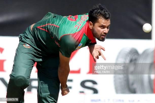 Bangladesh's captain Mashrafe Mortaza bowls during the TriNation Series one day international between Bangladesh and West Indies Malahide cricket...