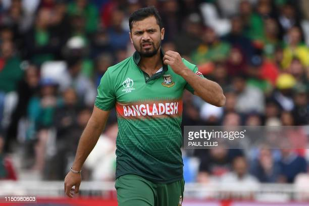 Bangladesh's captain Mashrafe Mortaza reacts during the 2019 Cricket World Cup group stage match between Australia and Bangladesh at Trent Bridge in...