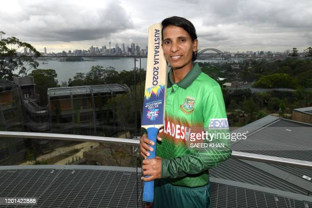 Bangladesh's captain Salma Khatun for the Twenty20 women's World Cup poses for photos at Taronga Zoo in Sydney on February 17 a few days ahead of the...