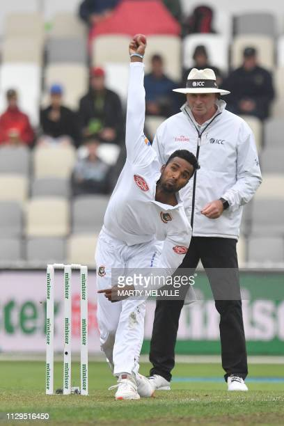 Bangladesh's Ebadat Hossain bowls during day three of the second Test cricket match between New Zealand and Bangladesh at the Basin Reserve in...