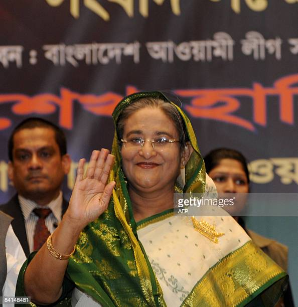 Bangladesh's former prime minister and Awami League chief Sheikh Hasina Wajed waves at a press conference in Dhaka on December 31 2008 Bangladesh's...