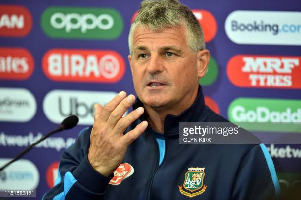 Bangladesh's Head Coach Steve Rhodes gestures as he addresses media representatives at a press conference at the Rose Bowl in Southampton southern...