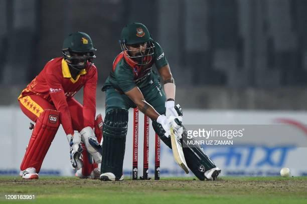 Bangladesh's Liton Das plasy a shot during the first Twenty20 international cricket match of a two-match series between Bangladesh and Zimbabwe at...