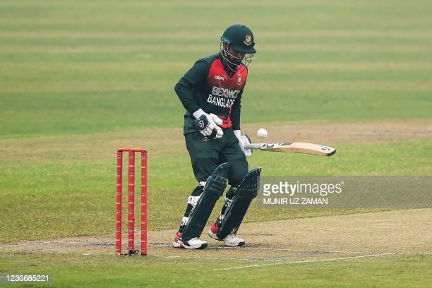 Bangladesh's Liton Das plays a shot during the first one-day international cricket match between Bangladesh and West Indies at the Sher-e-Bangla...