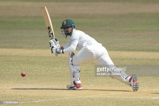 Bangladesh's Liton Das plays a shot during the fourth day of the first cricket Test match between Bangladesh and West Indies at the Zohur Ahmed...