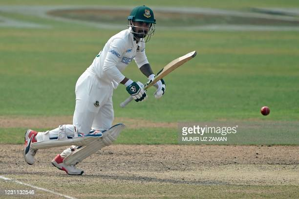 Bangladesh's Liton Das plays a shot during the third day of the second Test cricket match between West Indies and Bangladesh at the Sher-e-Bangla...