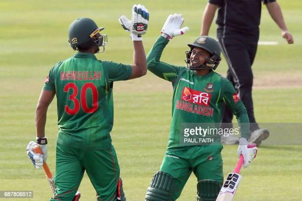 Bangladesh's Mahmudullah celebrates after hitting the winning runs to beat New Zealand in the TriSeries final OneDay International between Bangladesh...