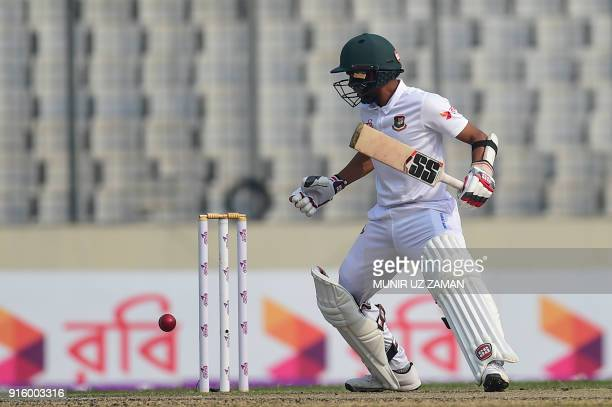 Bangladesh's Mehedi Hasan looks back after playing a shot during the second day of the second cricket Test between Bangladesh and Sri Lanka at the...