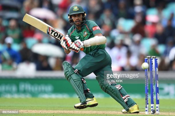 Bangladesh's Mehedi Hasan Miraz plays a shot during the ICC Champions Trophy match between Australia and Bangladesh at The Oval in London on June 5...
