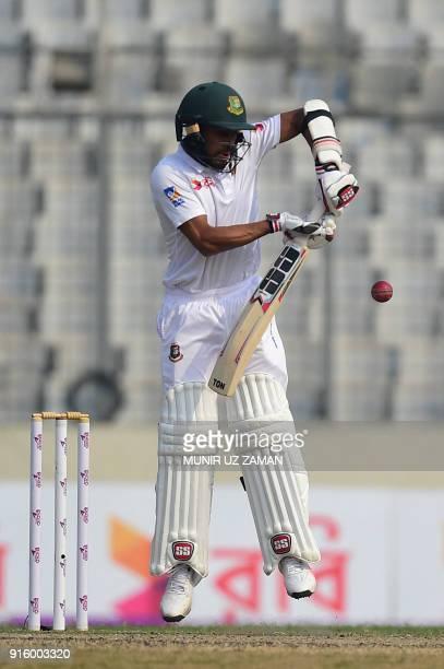 Bangladesh's Mehedi Hasan plays a shot during the second day of the second cricket Test between Bangladesh and Sri Lanka at the ShereBangla national...