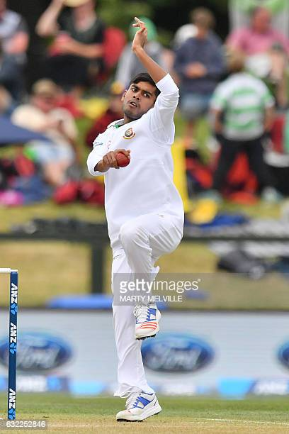 Bangladesh's Mehedi Hasan Siddique bowls during day two of the second international Test cricket match between New Zealand and Bangladesh at Hagley...