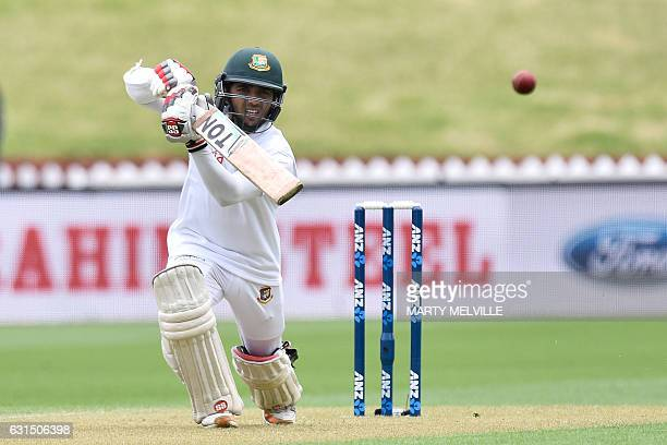 Bangladesh's Mominul Haque plays a shot during day one of the first Test cricket match match between New Zealand and Bangladesh at the Basin Reserve...