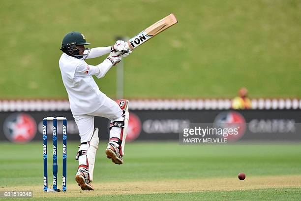Bangladesh's Mominul Haque plays a shot during day one of the first international Test cricket match between New Zealand and Bangladesh at the Basin...