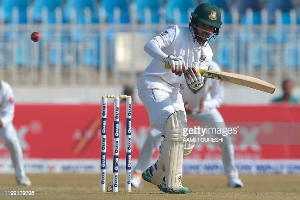 Bangladesh's Mominul Haque plays a shot during the first day of the first cricket Test match between Pakistan and Bangladesh at the Rawalpindi...